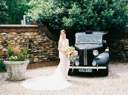 Graylyn Estate Wedding Bride & Classic Car