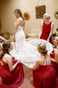 Bride and Bridesmaid Getting Ready Photos