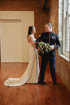 Marine and Bride First Look Wedding Photo