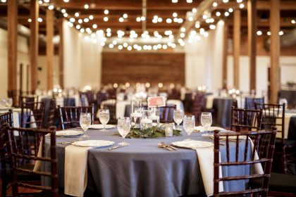 slate blue wedding reception at The Cloth Mill