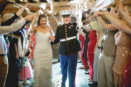 Marine and Bride Grand Exit with Streamers