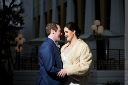 Romantic Winter Wedding Portrait Downtown Durham