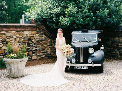 Graylyn Estate Wedding Bride & Classic Car