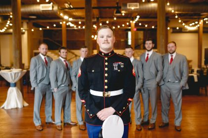 Groom in Military Uniform with Groomsmen