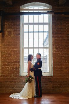 Natural sunlight wedding photo