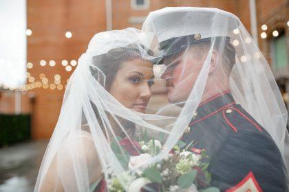 bride, groom wedding veil photo