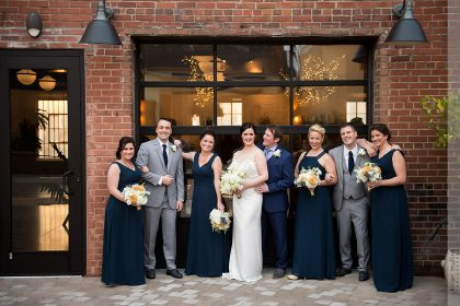 Navy Blue, Gray, White and Gold Wedding Party Photos