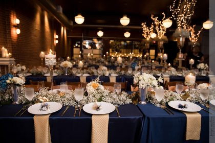 Blue, Gold, White Wedding Reception Decor