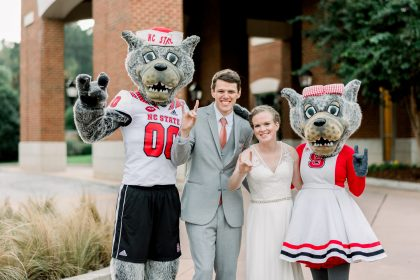 Mr. & Mrs. Wuf at NCSU Wedding Reception