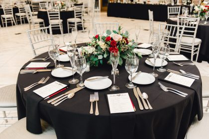 Red, White and Black Wedding Decor