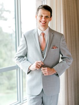 Groom in Gray Suit