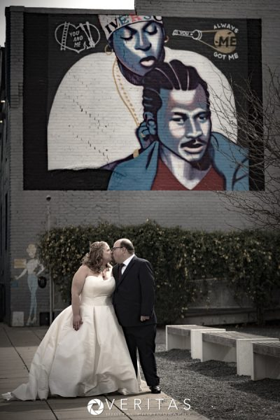 Bride and Groom Downtown Raleigh Mural