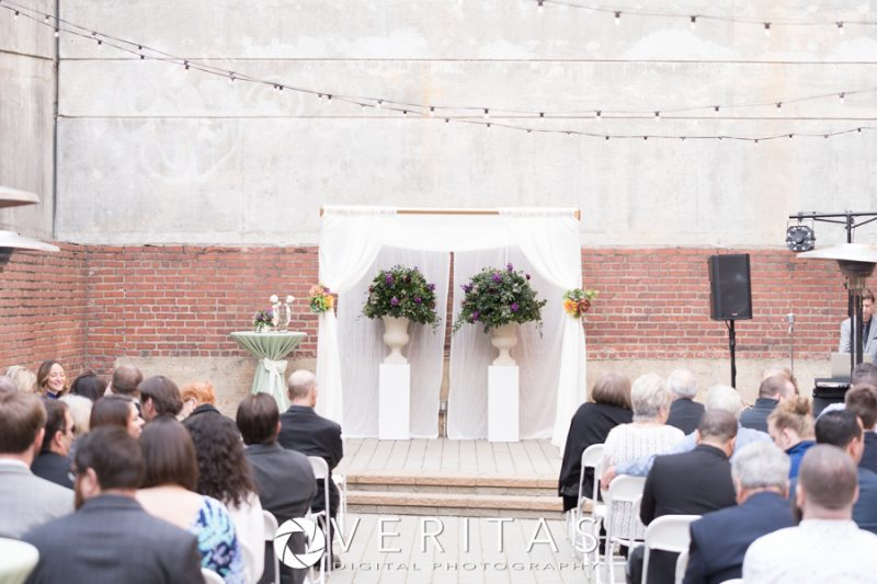 wedding ceremony at Sitti with Tre Bella Floral Arrangements