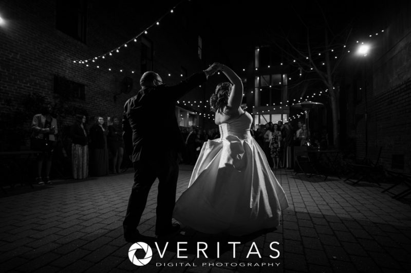 Silhouette of Newlyweds' First Dance