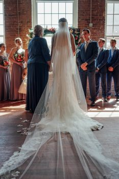 wedding ceremony at the cloth mill nc
