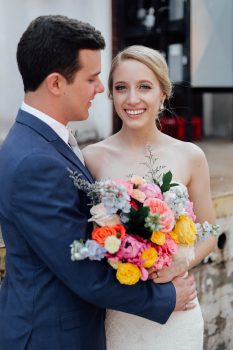 bride and groom spring florals