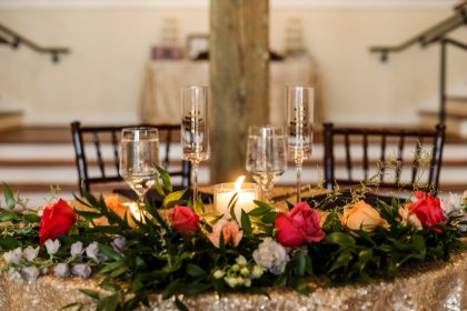 bright florals sweetheart table