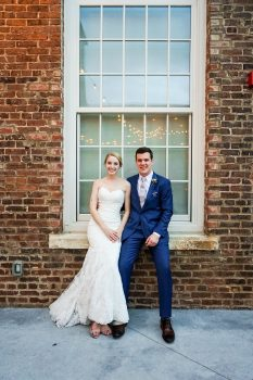bride and groom at the cloth mill