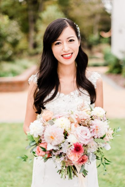 Beautiful Bride and Bridal Bouquet Wild Flora Farm
