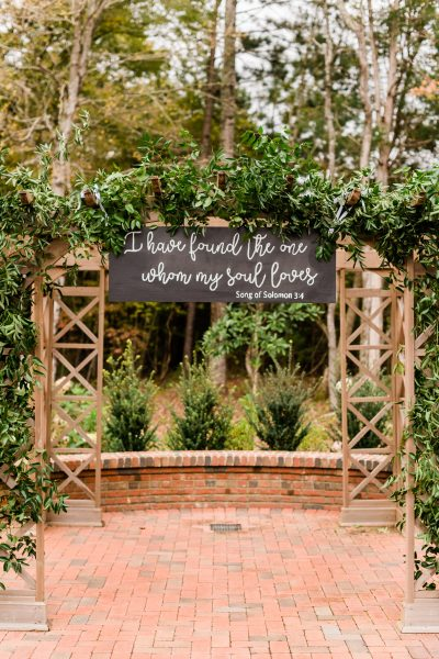 Wedding Ceremony Arbor and Love Quote