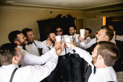 Groom Groomsmen Getting Ready for Wedding