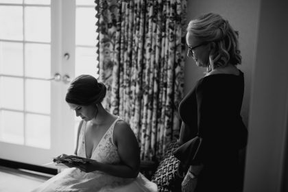 Bride Reading letter from Groom pre-ceremony