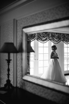 Bride in gown at Washington Duke Inn