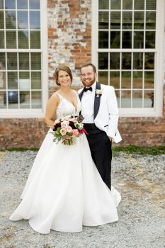 Bride and Groom with industrial background