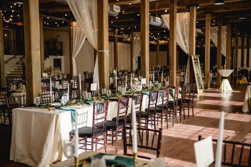 The Cloth Mill Reception Setup with long tables