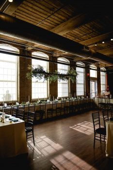 floral overhang wedding reception at The Cloth Mill