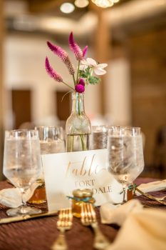 cafe table centerpiece at wedding reception