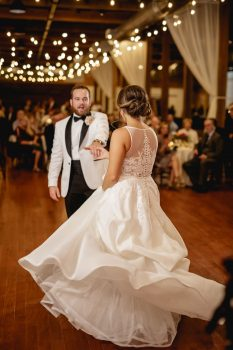 First Dance in flowing wedding dress