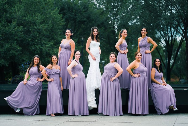 Bride and Bridesmaids in lavender dresses