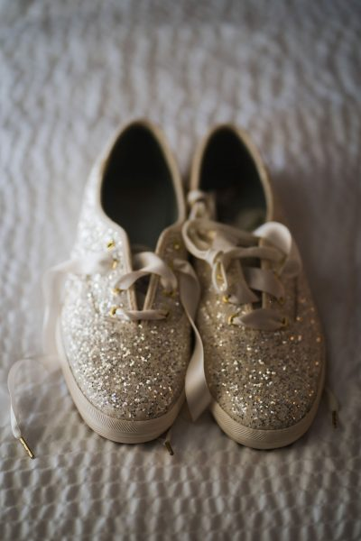 Bride's sparkle tennis shoes