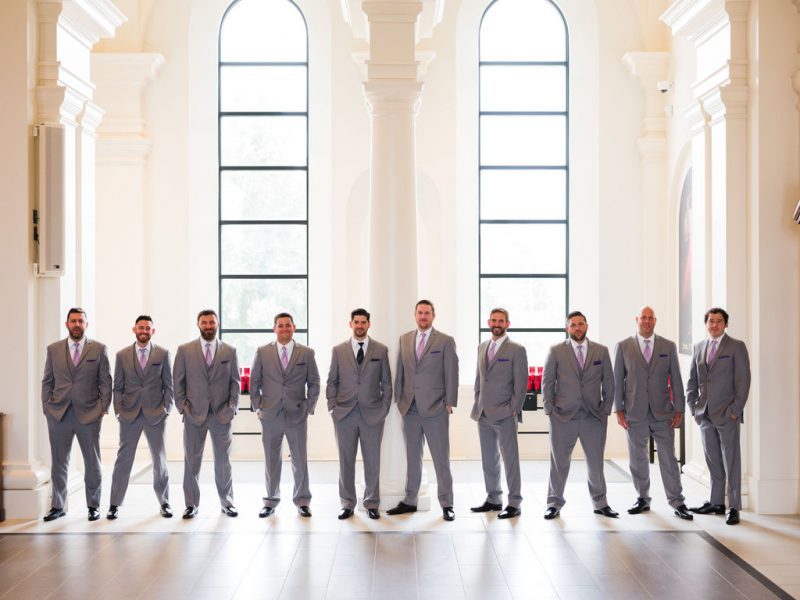 Groom and Groomsmen at Holy Name of Jesus Catholic Church Raleigh NC