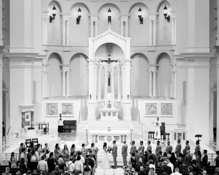 wedding ceremony at Holy Name of Jesus Cathedral Raleigh NC
