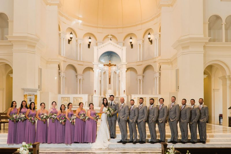 Wedding Party in Gray Suits and Lavender dresses