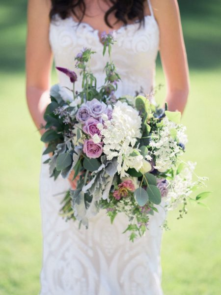 Gorgeous bouquet of lavender, green, white by The English Garden Raleigh NC
