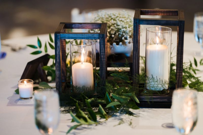 woodland inspired wedding reception centerpiece