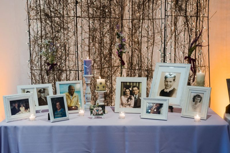 wedding reception memory table