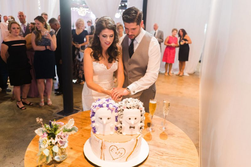 Bride and Groom cutting hedgehog wedding cake Cakes by Chloe