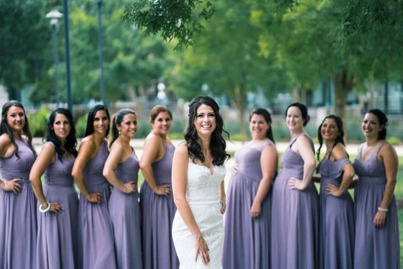 Bridesmaids in lavender dresses Raleigh NC