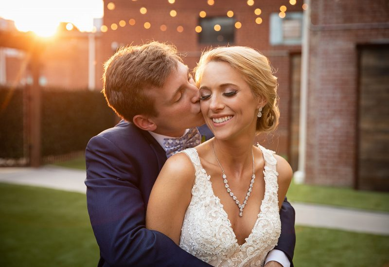 Bride and Groom Sunset Photo Industrial Venue