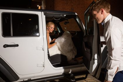 Just Married Exit in Jeep