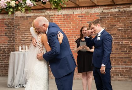 Father of Bride giving away daughter wedding ceremony
