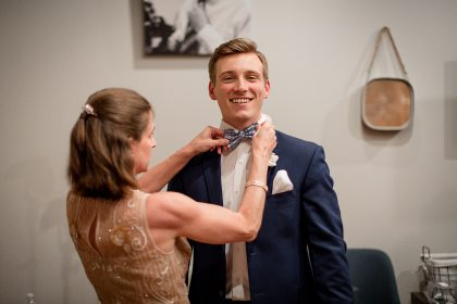 Groom and Mother of the Groom Getting Ready