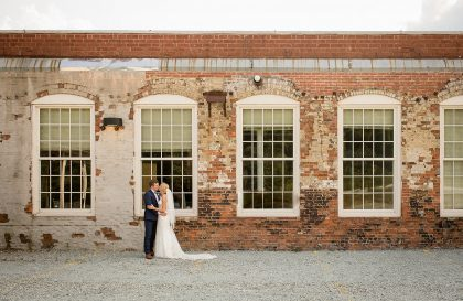 Bride & Groom Industrial Red and White Brick