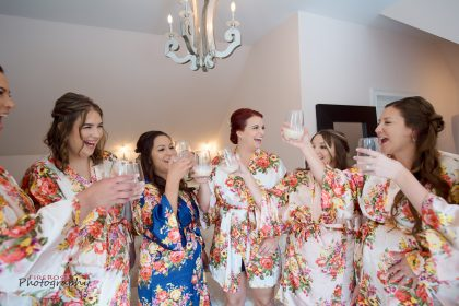 bride and bridesmaids floral robes