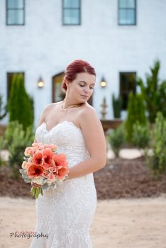 Bride in front of The Bradford NC