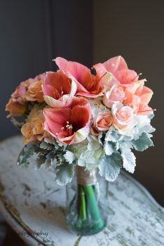 Bloom Works NC pink peach white bride's bouquet with lambs ear
